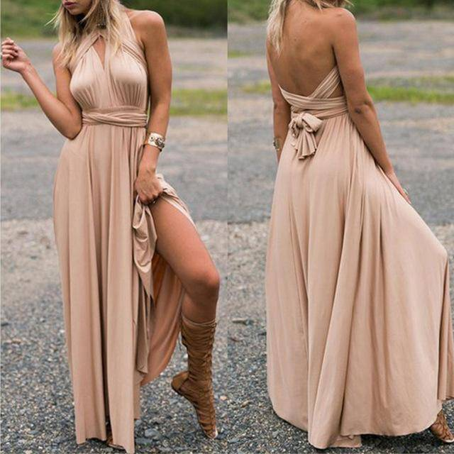 Dresses 10 / S Sexy Women Bandage Maxi Dress Red Beach Long Dress Multiway Bridesmaids Convertible Wrap Party Dresses Robe Longue Femme