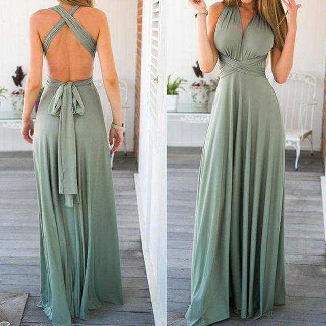 Dresses 9 / S Sexy Women Bandage Maxi Dress Red Beach Long Dress Multiway Bridesmaids Convertible Wrap Party Dresses Robe Longue Femme