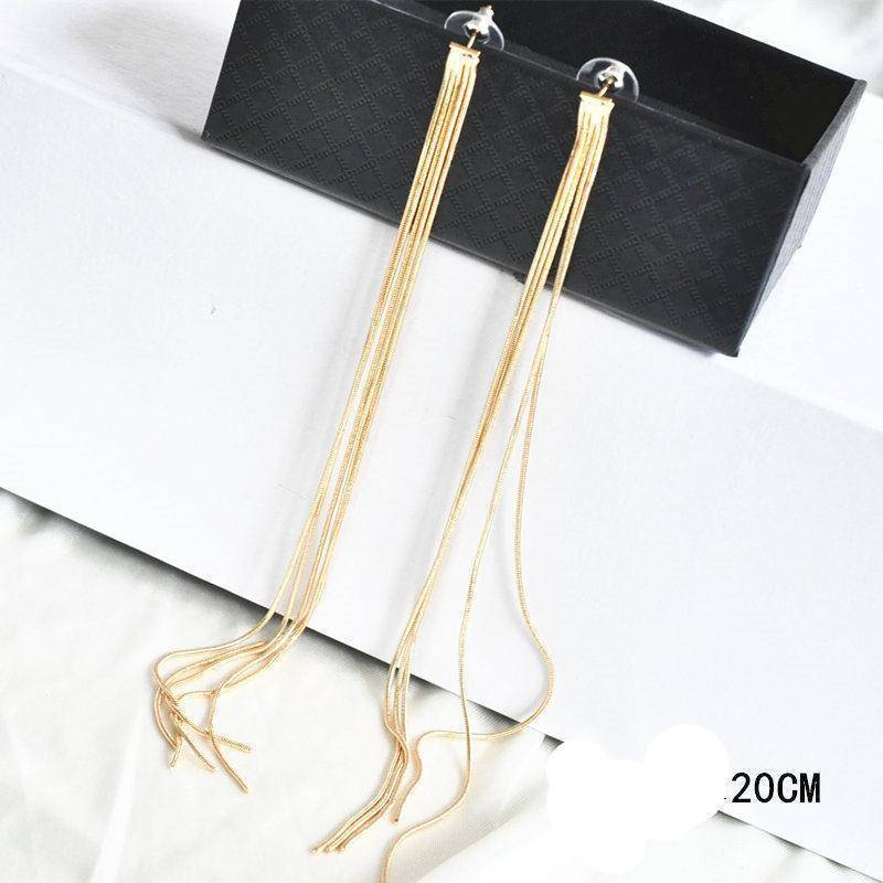 Drop Earrings AOMU New Extra Long 21cm/8' Over the Shoulder Gold Silver Crystal Star Tassel Chain Drop Dangle Earrings for Women Girls Party
