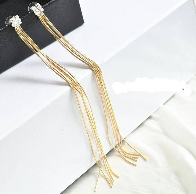 Drop Earrings C AOMU New Extra Long 21cm/8' Over the Shoulder Gold Silver Crystal Star Tassel Chain Drop Dangle Earrings for Women Girls Party