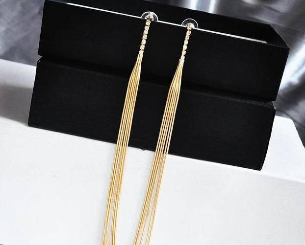 Drop Earrings E AOMU New Extra Long 21cm/8' Over the Shoulder Gold Silver Crystal Star Tassel Chain Drop Dangle Earrings for Women Girls Party