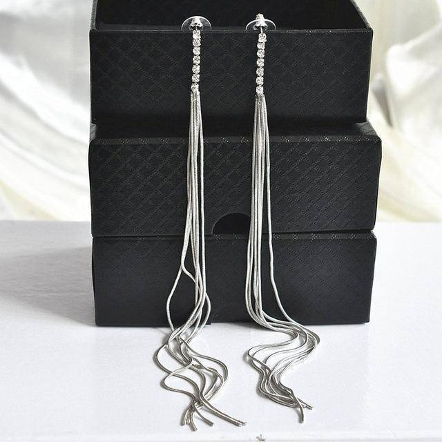 Drop Earrings F AOMU New Extra Long 21cm/8' Over the Shoulder Gold Silver Crystal Star Tassel Chain Drop Dangle Earrings for Women Girls Party
