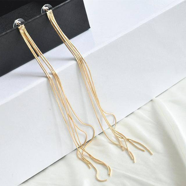 Drop Earrings G AOMU New Extra Long 21cm/8' Over the Shoulder Gold Silver Crystal Star Tassel Chain Drop Dangle Earrings for Women Girls Party