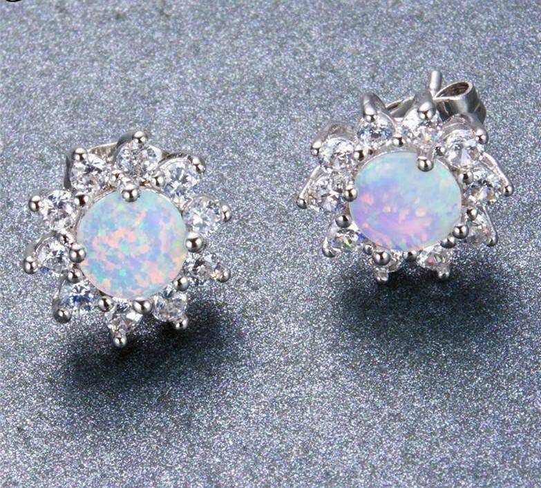Earrings 11 Styles, Fire Opal Double Stud Earrings - 925 Sterling Silver Filled