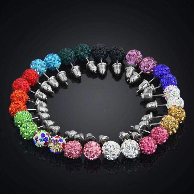 Earrings 14 Pairs / Set 8mm Shamballa Crystal Stud Earrings