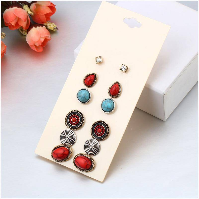 Earrings 6 Pairs / Set Vintage Bohemian Stud Earrings