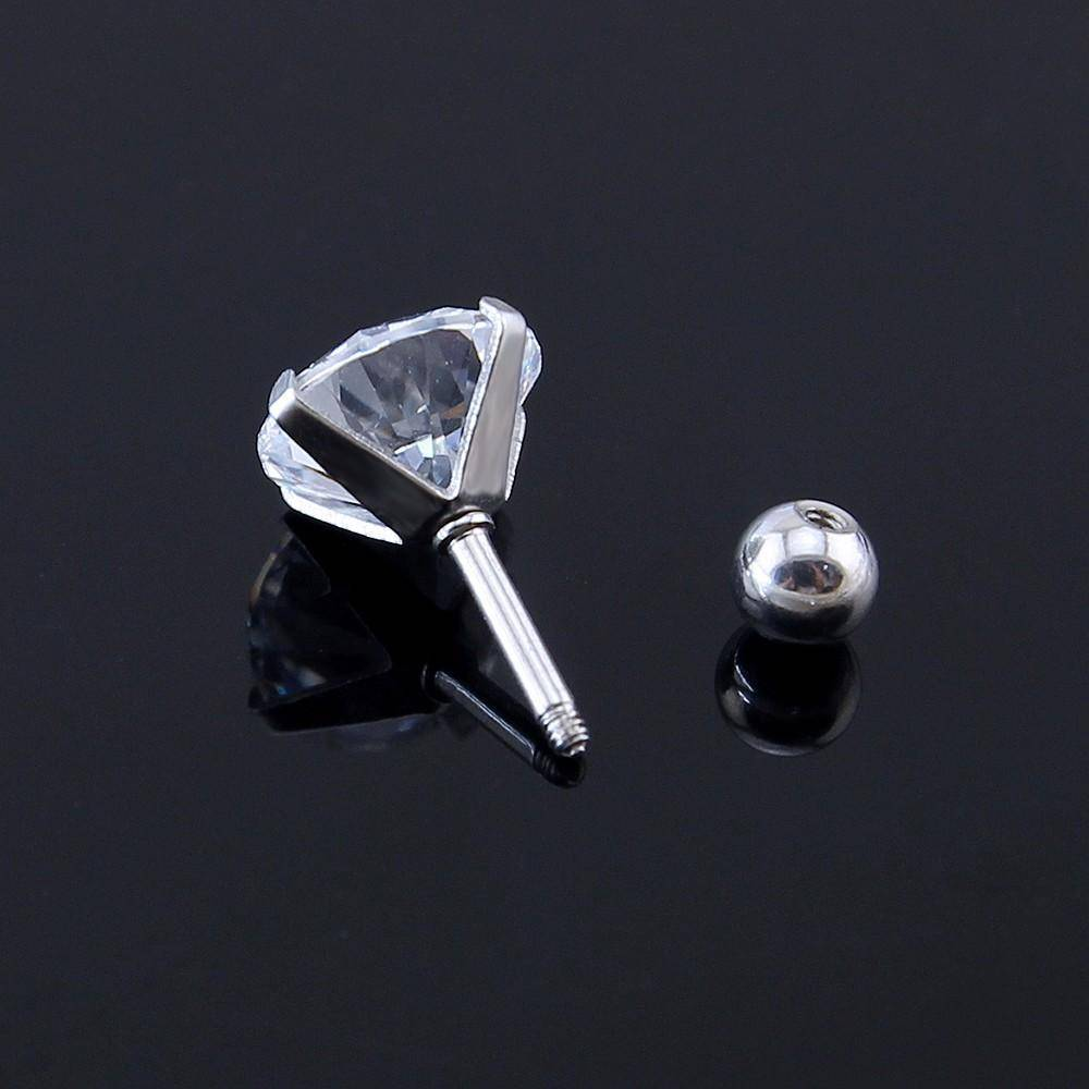 earrings 6 Sizes, (3mm-9mm) Screw Back Studs, Simple Clear CZ Four Prong Earrings, Stainless Steel set