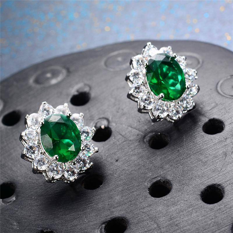 Earrings 7 Colors, Oval Earrings Stud AAA Crystal Zircon