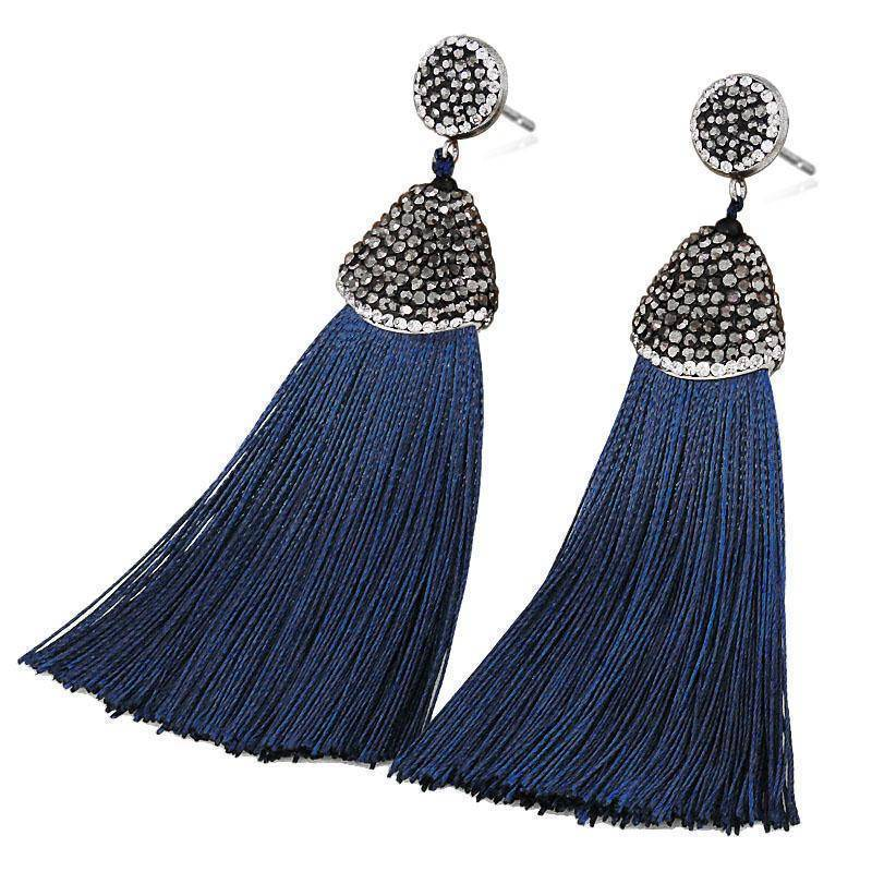 earrings A Grade Quality - Bohemian Crystal Silk Tassel Earrings