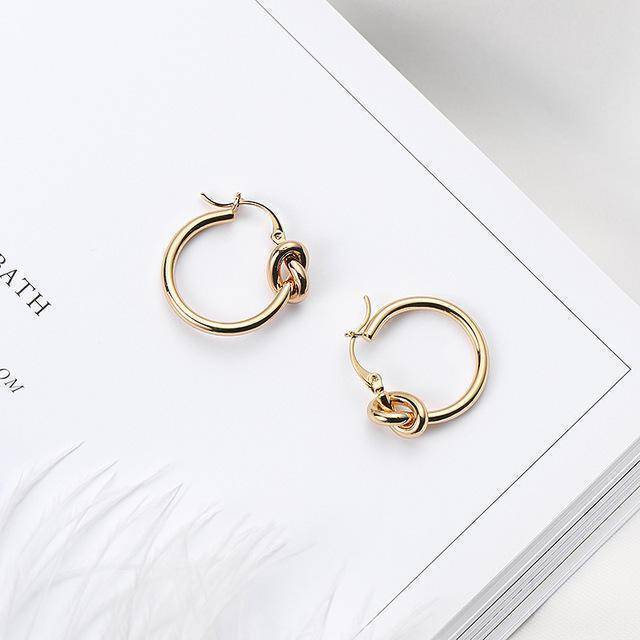 Earrings A Minimalist Knot Hoop Earrings