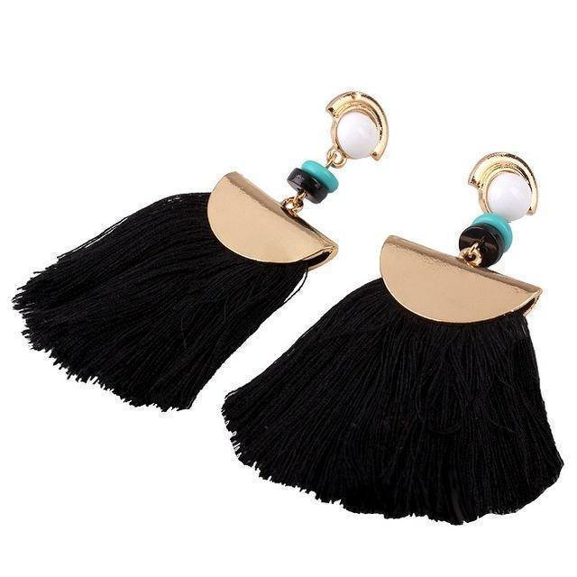 earrings Black Bohemian Ethnic Big Long Tassel Earrings