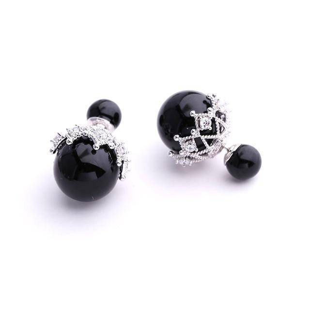 Earrings Black Double Sided Cubic Zirconia  Pearl Earrings Studs