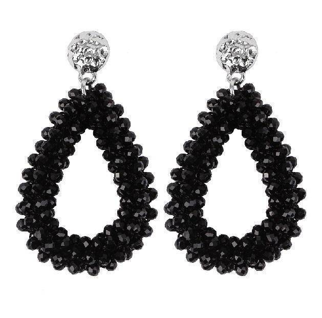Earrings Black Duplicate! Baroque big long Tear drop Crystal earrings