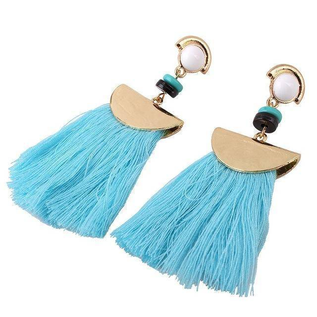 earrings Blue Bohemian Ethnic Big Long Tassel Earrings