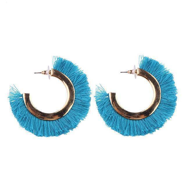 earrings Blue Fringed Tassel Statement Bohemian Earrings