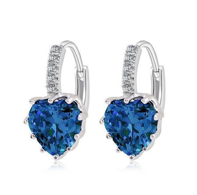 earrings Blue Sale! Charming Heart Cubic Zirconia Earrings For Women Beautiful Hoop Earrings 5 Colors Available
