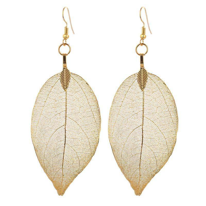 earrings Bohemian Long Earrings Unique Natural Real Leaf Big Earrings