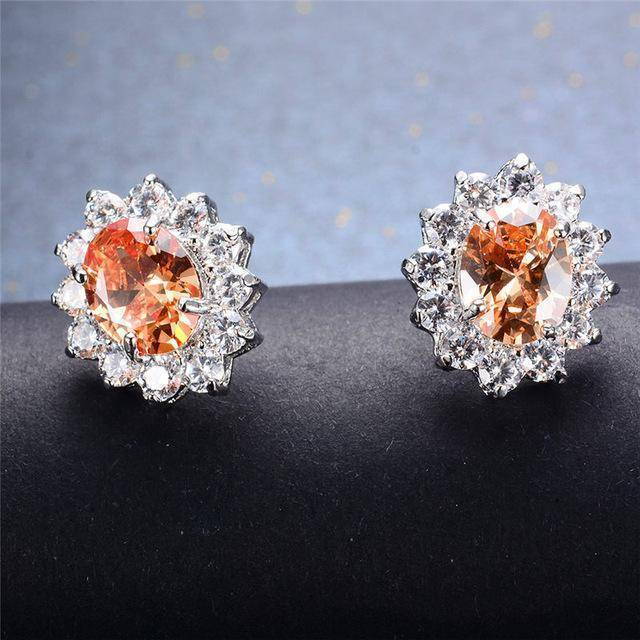 Earrings Champagne 7 Colors, Oval Earrings Stud AAA Crystal Zircon