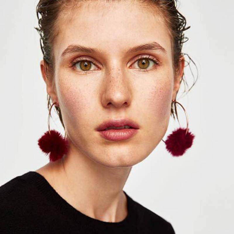 Earrings Cotton Ball Drop Hoop Earrings