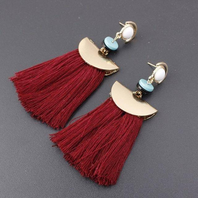 earrings crimson Bohemian Ethnic Big Long Tassel Earrings