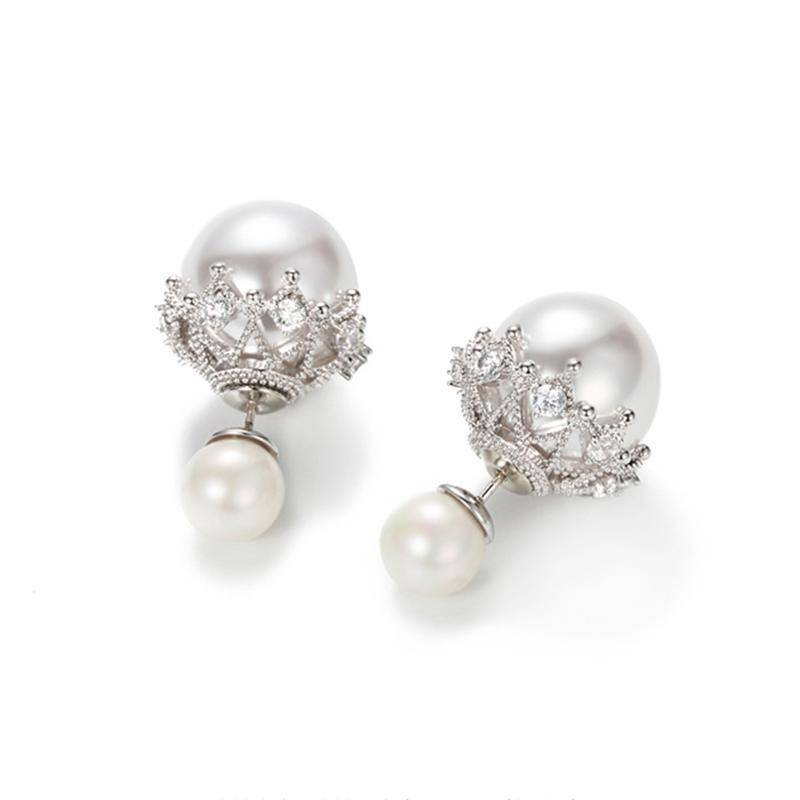 Earrings Double Sided Cubic Zirconia  Pearl Earrings Studs