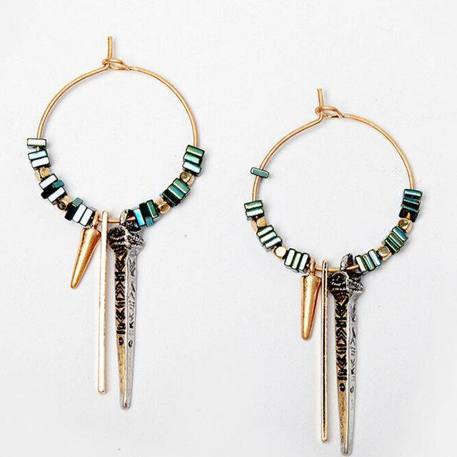 earrings Ethnic Copper Hoop Bohemian  Brass Earrings