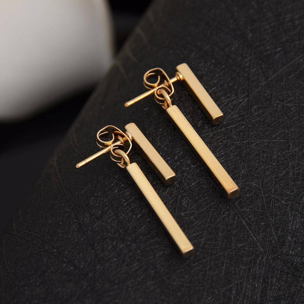 earrings Gold Punk Style Minimalist T Bar Stud Earrings