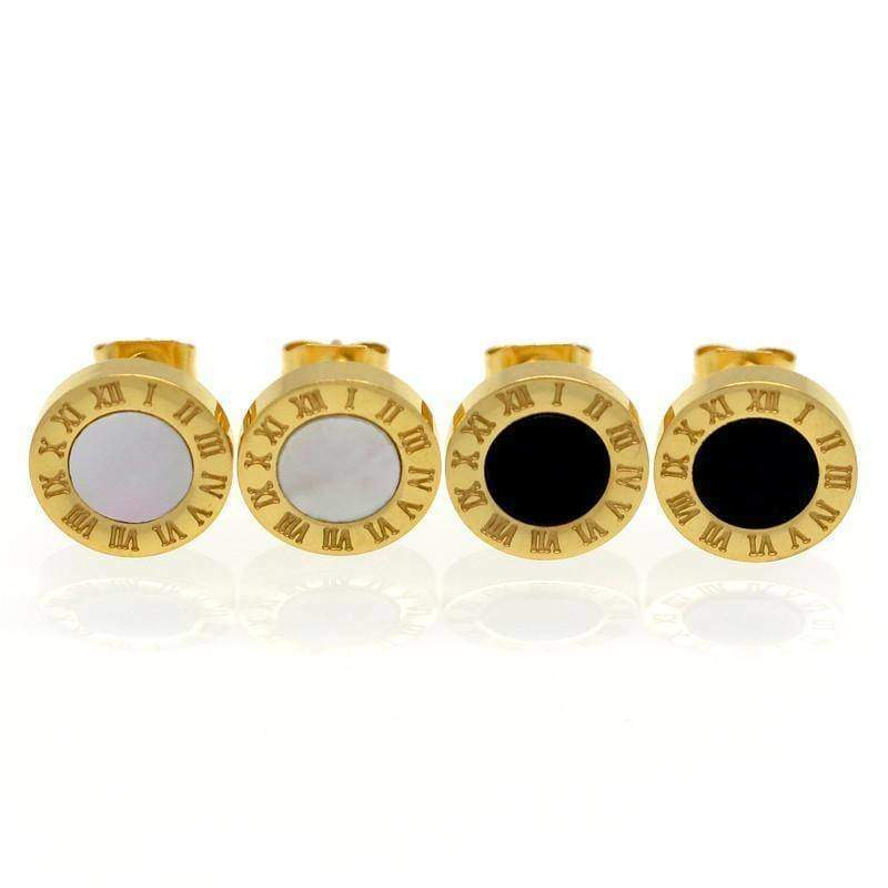 earrings Gold / White Roman Numeral Stud Earrings - Stainless Steel