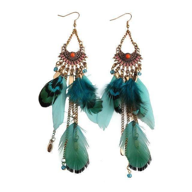 Earrings green Long Tassel  Feather Ethnic Boho Earring Wedding Earrings