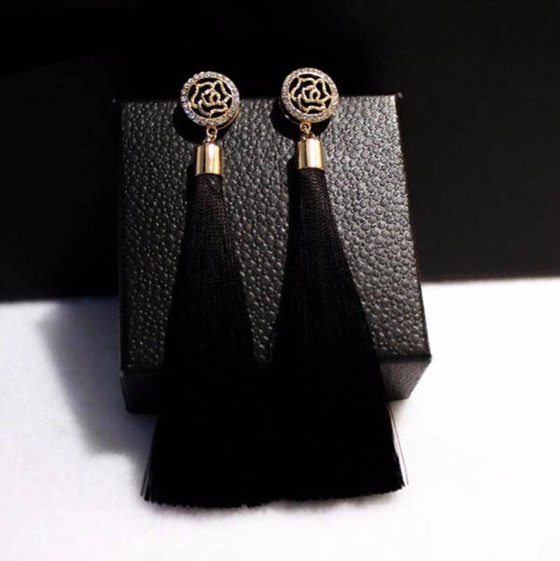 earrings High Quality Camellia Tassel Vintage Earrings