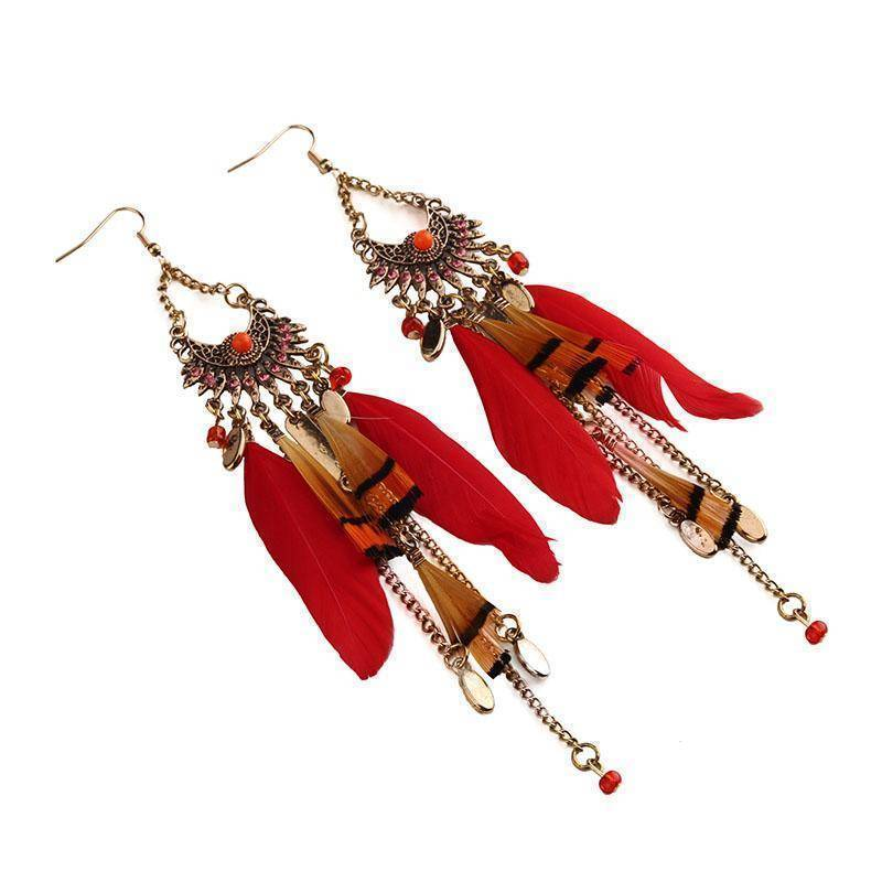 Earrings Long Tassel  Feather Ethnic Boho Earring Wedding Earrings