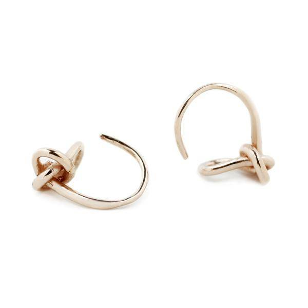 Earrings Minimalist Knot Hoop Earrings