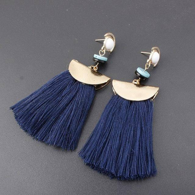 earrings Navy Bohemian Ethnic Big Long Tassel Earrings
