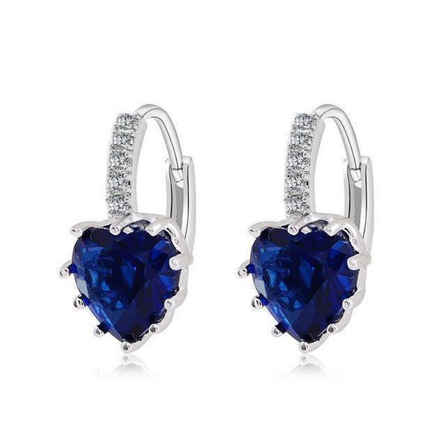earrings navy Sale! Charming Heart Cubic Zirconia Earrings For Women Beautiful Hoop Earrings 5 Colors Available