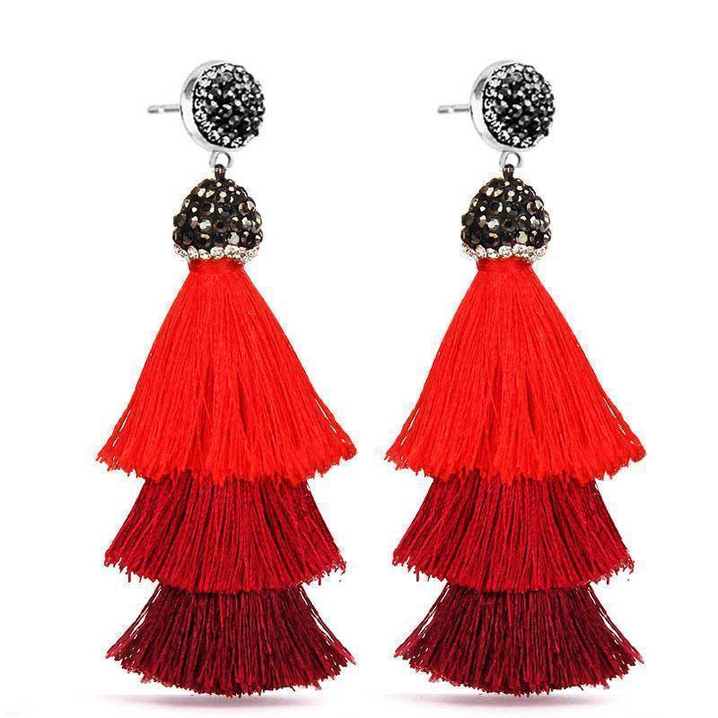 earrings New Bohemia Three Layers Crystal Silk CottonTassel Earrings Long Pink Black Drop Earrings For Women Trendy Jewelry