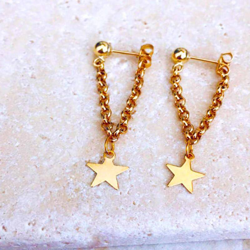 Earrings New fashion jewelry accessories gold color star  design chain angle earring best gift for lover's girl wholesale E370