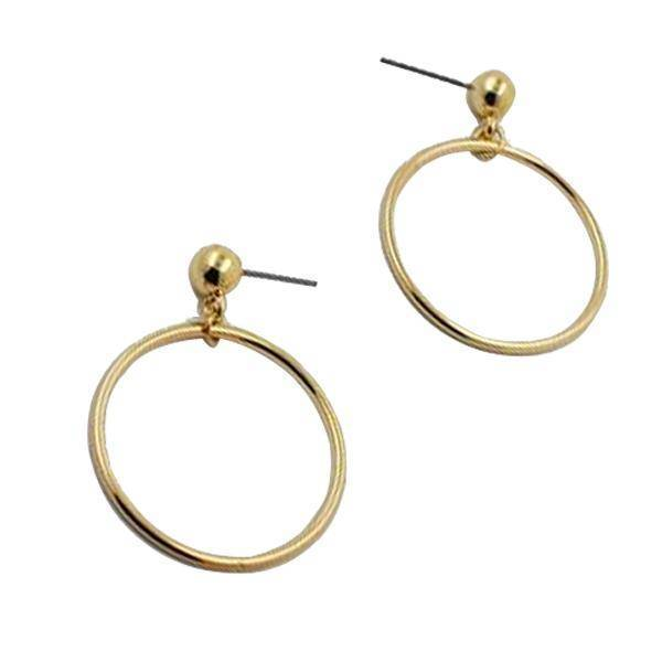 Earrings New ! Fashion jewelry gold color Geometric round with big  beads  stud  earrings best gift for women