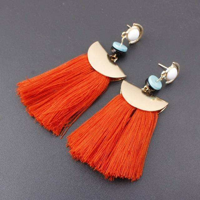 earrings orange Bohemian Ethnic Big Long Tassel Earrings