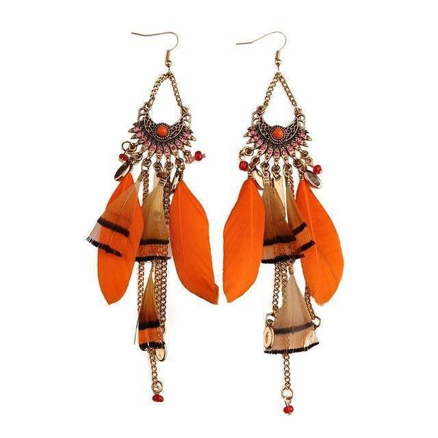 Earrings orange Long Tassel  Feather Ethnic Boho Earring Wedding Earrings