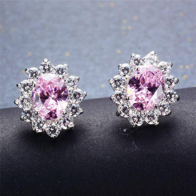 Earrings Pink 7 Colors, Oval Earrings Stud AAA Crystal Zircon