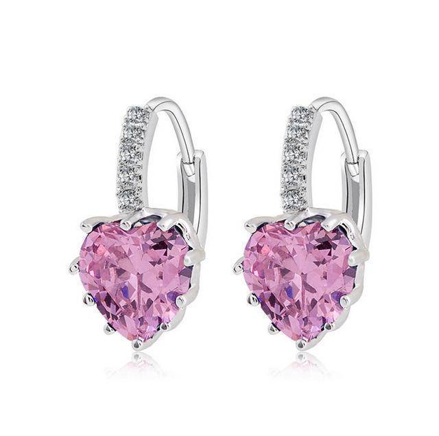 earrings Pink Sale! Charming Heart Cubic Zirconia Earrings For Women Beautiful Hoop Earrings 5 Colors Available