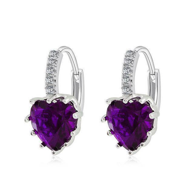 earrings Purple Sale! Charming Heart Cubic Zirconia Earrings For Women Beautiful Hoop Earrings 5 Colors Available