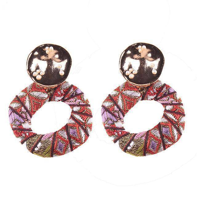 Earrings Red 4 Colors, Colorful Bohemian Stud Cloth  Earring