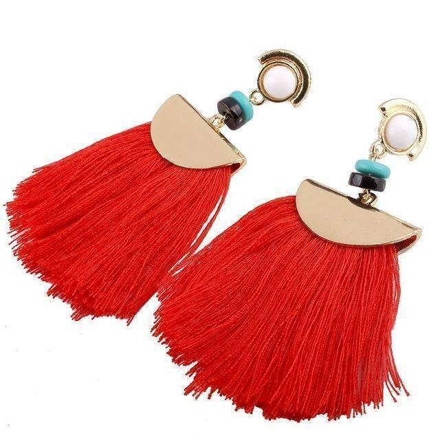 earrings red Bohemian Ethnic Big Long Tassel Earrings