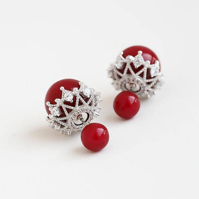 Earrings Red Double Sided Cubic Zirconia  Pearl Earrings Studs