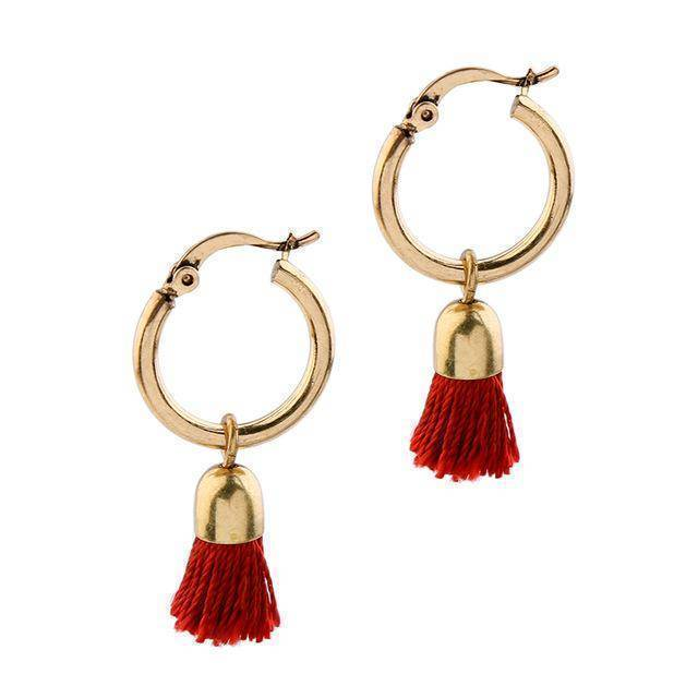 Earrings red Matte Gold Color Simple Fabric Tassel Earring