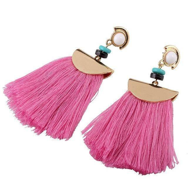 earrings rose Bohemian Ethnic Big Long Tassel Earrings