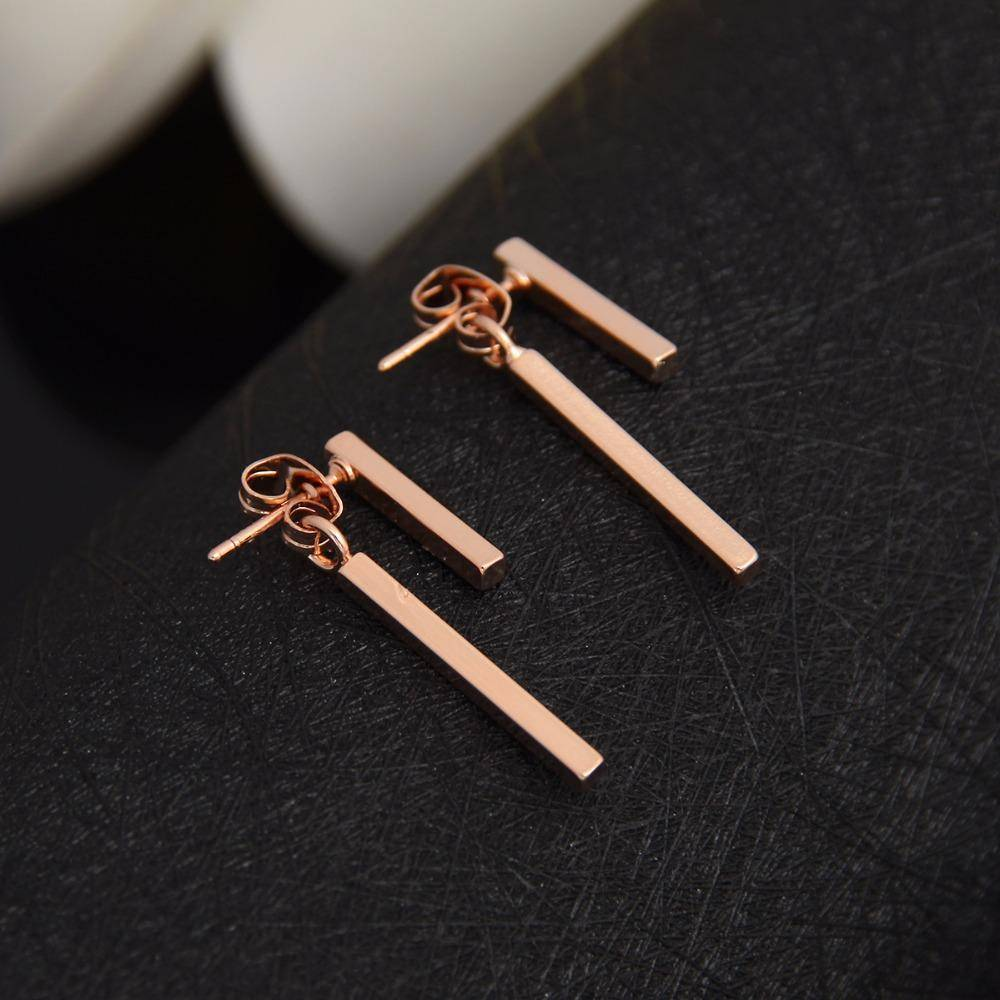 earrings Rose Gold Punk Style Minimalist T Bar Stud Earrings