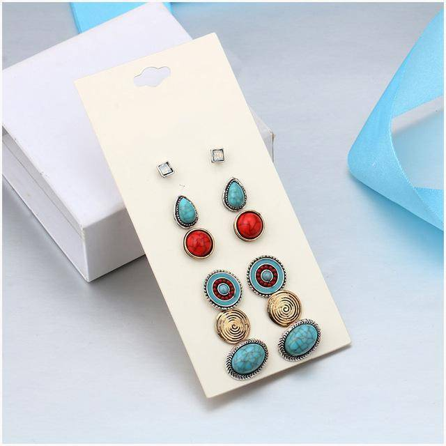 Earrings silver 6 Pairs / Set Vintage Bohemian Stud Earrings