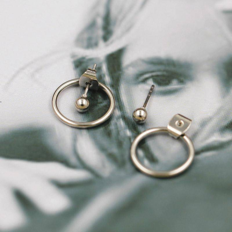 Earrings Silver New ! Fashion jewelry  cute gold color Geometric round metal  stud  earrings best gift for women